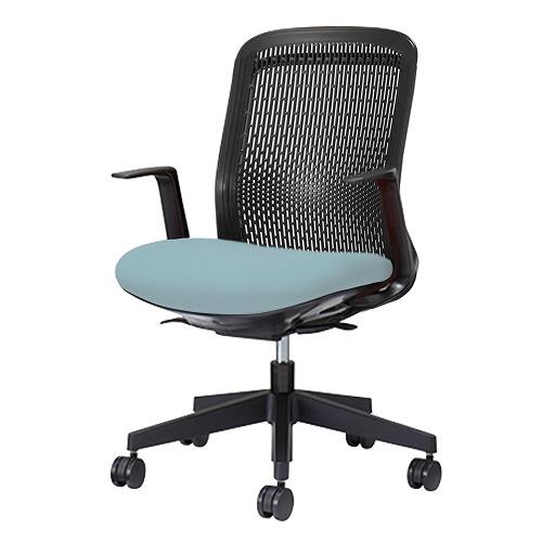 PLUS プラス Try トライ パソコンチェア PCチェア オフィスチェア ワークチェア ビジネスチェア メッシュチェア メッシュチェアー フィット メッシュ フィット 放熱 チェア チェアー 椅子 いす イス ローバック 肘付き スカイブルー KB-TR60SEL