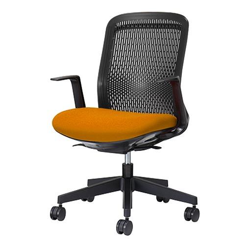 PLUS プラス Try トライ パソコンチェア PCチェア オフィスチェア ワークチェア ビジネスチェア メッシュチェア メッシュチェアー フィット メッシュ フィット 放熱 チェア チェアー 椅子 いす イス ローバック 肘付き オレンジ 橙 KB-TR60SEL