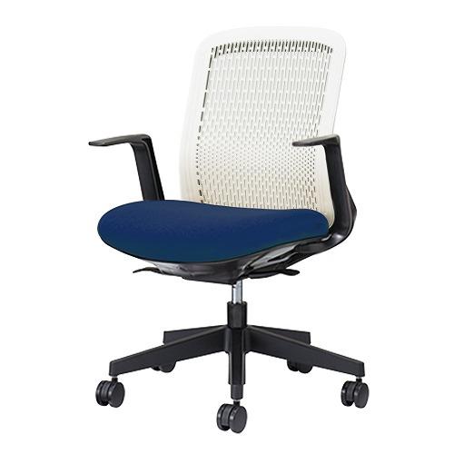 PLUS プラス Try トライ パソコンチェア PCチェア オフィスチェア ワークチェア ビジネスチェア メッシュチェア メッシュチェアー フィット メッシュ フィット 放熱 チェア チェアー 椅子 いす イス ローバック 肘付き ブルー 青 KB-TR50SEL