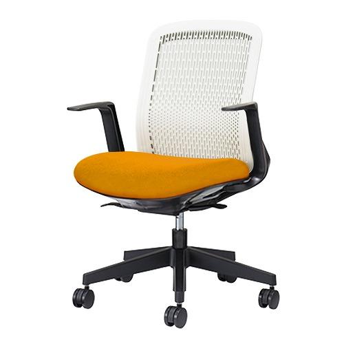 PLUS プラス Try トライ パソコンチェア PCチェア オフィスチェア ワークチェア ビジネスチェア メッシュチェア メッシュチェアー フィット メッシュ フィット 放熱 チェア チェアー 椅子 いす イス ローバック 肘付き オレンジ 橙 KB-TR50SEL