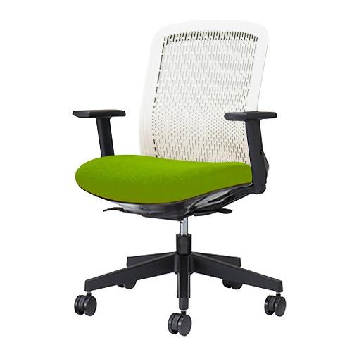 PLUS プラス Try トライ パソコンチェア PCチェア オフィスチェア ワークチェア ビジネスチェア メッシュチェア メッシュチェアー フィット メッシュ フィット 放熱 チェア チェアー 椅子 いす イス ローバック 肘付き イエローグリーン KD-TR50SEL