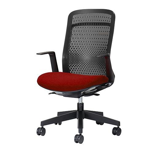 PLUS プラス Try トライ パソコンチェア PCチェア オフィスチェア ワークチェア ビジネスチェア メッシュチェア メッシュチェアー フィット メッシュ フィット 放熱 チェア チェアー 椅子 いす イス ハイバック 肘付き レッド 赤 KB-TR61SEL