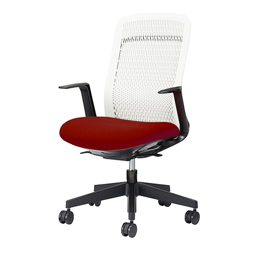 PLUS プラス Try トライ パソコンチェア PCチェア オフィスチェア ワークチェア ビジネスチェア メッシュチェア メッシュチェアー フィット メッシュ フィット 放熱 チェア チェアー 椅子 いす イス ハイバック 肘付き レッド 赤 KB-TR51SEL