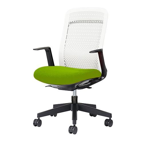 PLUS プラス Try トライ パソコンチェア PCチェア オフィスチェア ワークチェア ビジネスチェア メッシュチェア メッシュチェアー フィット メッシュ フィット 放熱 チェア チェアー 椅子 いす イス ハイバック 肘付き イエローグリーン KB-TR51SEL