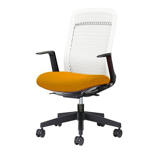 PLUS プラス Try トライ パソコンチェア PCチェア オフィスチェア ワークチェア ビジネスチェア メッシュチェア メッシュチェアー フィット メッシュ フィット 放熱 チェア チェアー 椅子 いす イス ハイバック 肘付き オレンジ KB-TR51SEL