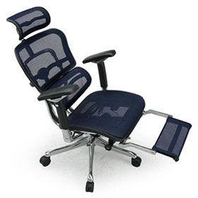 Ergohuman エルゴヒューマン プロ ハイブリット機能 オットマン内臓 足置き付き パソコンチェア PCチェア オフィスチェア ビジネスチェア ワークチェア チェア チェアー 椅子 イス いす オフィス 高機能 メッシュ 調節機能 青 ブルー EHP-LPL-HB KM15