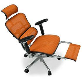 Ergohuman エルゴヒューマン プロ ハイブリット機能 オットマン内臓 足置き付き パソコンチェア PCチェア オフィスチェア ビジネスチェア ワークチェア チェア チェアー 椅子 イス いす オフィス 高機能 メッシュ 調節機能 橙 オレンジ EHP-LPL-HB KMD33