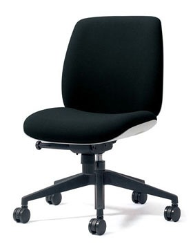 PLUS プラス ユーチェア Uチェア ワークチェア オフィスチェア パソコンチェア イス チェア 椅子 事務椅子 事務チェア 学習チェア 仕事用チェア カラフル キャスター付き ローバック 樹脂脚 肘なし 黒 ブラック  KC-UC50SEL BK