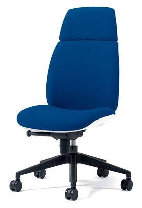 PLUS プラス ユーチェア Uチェア ワークチェア オフィスチェア パソコンチェア イス チェア 椅子 事務椅子 事務チェア 学習チェア 仕事用チェア カラフル キャスター付き ハイバック 樹脂脚 肘なし 青 ブルー  KC-UC66SEL BL