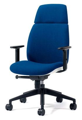 PLUS プラス ユーチェア Uチェア ワークチェア オフィスチェア パソコンチェア イス チェア 椅子 事務椅子 事務チェア 学習チェア 仕事用チェア カラフル キャスター付き ハイバック 樹脂脚 アジャスト肘 肘付き 青 ブルー KD-UC53SEL BL