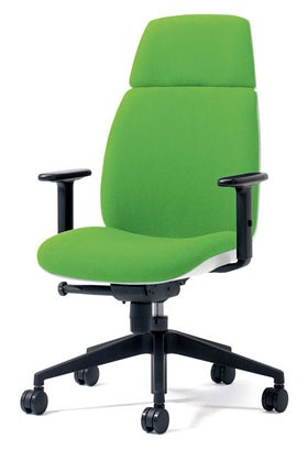 PLUS プラス ユーチェア Uチェア ワークチェア オフィスチェア パソコンチェア イス チェア 椅子 事務椅子 事務チェア 学習チェア 仕事用チェア カラフル キャスター付き ハイバック 樹脂脚 アジャスト肘 肘付き 黄緑 イエローグリーン KD-UC53SEL YG