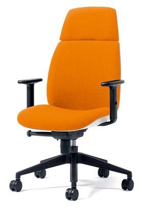 PLUS プラス ユーチェア Uチェア ワークチェア オフィスチェア パソコンチェア イス チェア 椅子 事務椅子 事務チェア 学習チェア 仕事用チェア カラフル キャスター付き ハイバック 樹脂脚 アジャスト肘 肘付き 橙 オレンジ KD-UC53SEL OR