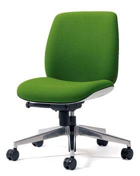 PLUS プラス ユーチェア Uチェア ワークチェア オフィスチェア パソコンチェア イス チェア 椅子 事務椅子 事務チェア 学習チェア 仕事用チェア カラフル キャスター付き ローバック アルミ脚 肘なし 黄緑 イエローグリーン  KC-UC54SEL YG