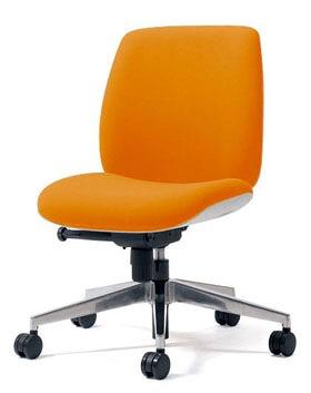 PLUS プラス ユーチェア Uチェア ワークチェア オフィスチェア パソコンチェア イス チェア 椅子 事務椅子 事務チェア 学習チェア 仕事用チェア カラフル キャスター付き ローバック アルミ脚 肘なし 橙 オレンジ KC-UC54SEL OR