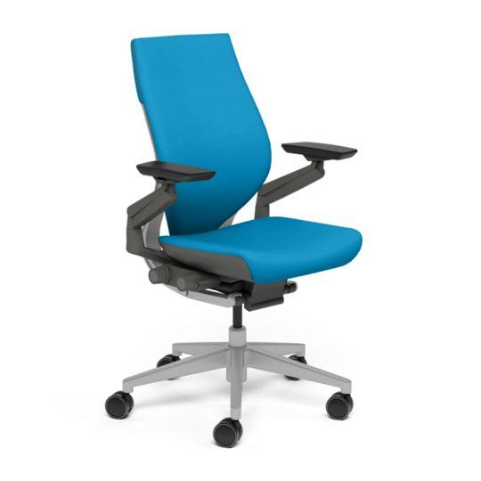 Steelcase スチールケース Gesture ジェスチャー チェア ワークチェア オフィスチェア パソコンチェア PCチェア 事務椅子 事務チェア 学習椅子 フィット 長時間 作業 疲れにくい 腰 サポート ラップバック ダーク ライト ブルージェイ 水色 K-442A40DL