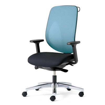 giroflex ジロフレックス 353 パソコンチェア ハイバック PCチェア ワークチェア 仕事用チェア デスクチェア 後傾姿勢 デスクワークにおすすめ 疲れにくい chair オフィス アジャスト肘付き ハンガー付き アルミ脚 ライトブルー 水色 353-8028RSH LB