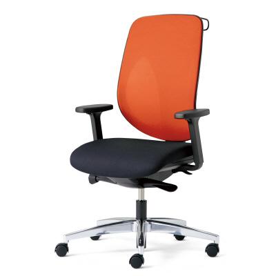 giroflex ジロフレックス 353 パソコンチェア ハイバック PCチェア ワークチェア 仕事用チェア デスクチェア 後傾姿勢 デスクワークにおすすめ 疲れにくい オフィス アジャスト肘付き ハンガー付き アルミ脚 オレンジ 橙 353-8028RSH OR