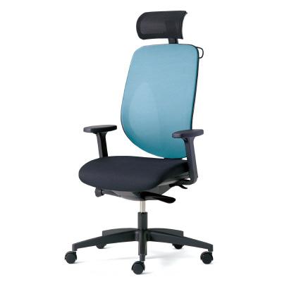 giroflex ジロフレックス 353 ハイバック PCチェア ワークチェア 仕事用チェア デスクチェア 後傾姿勢 デスクワークにおすすめ 疲れにくい 椅子 オフィス アジャスト肘付き ヘッドレスト付き ハンガー付き 樹脂脚 ライトブルー 水色 353-9029RSH LB