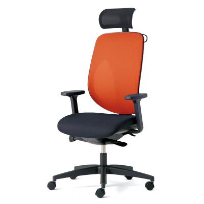 giroflex ジロフレックス 353 パソコンチェア ハイバック PCチェア ワークチェア 仕事用チェア デスクチェア 後傾姿勢 デスクワークにおすすめ 疲れにくい オフィス アジャスト肘付き ヘッドレスト付き ハンガー付き 樹脂脚 オレンジ 橙 353-9029RSH OR