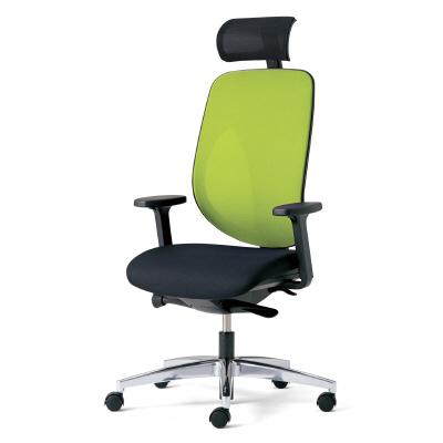 giroflex ジロフレックス 353 パソコンチェア ハイバック PCチェア ワークチェア 仕事用チェア デスクチェア 後傾姿勢 デスクワークにおすすめ 疲れにくい オフィス ヘッドレスト付き アジャスト肘付き アルミ脚 イエローグリーン 黄緑 353-9028RS YG