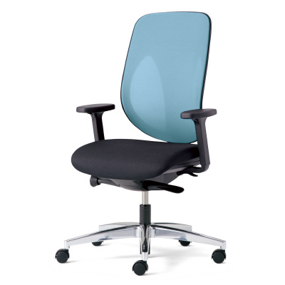 giroflex ジロフレックス 353 パソコンチェア ハイバック PCチェア ワークチェア 仕事用チェア デスクチェア 後傾姿勢 デスクワークにおすすめ 疲れにくい チェア 椅子 chair オフィス アジャスト肘付き アルミ脚 ライトブルー 水色 353-8028RS LB