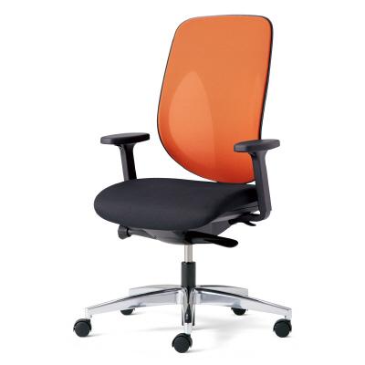 giroflex ジロフレックス 353 パソコンチェア ハイバック PCチェア ワークチェア 仕事用チェア デスクチェア 後傾姿勢 デスクワークにおすすめ 疲れにくい チェア 椅子 chair オフィス アジャスト肘付き アルミ脚 オレンジ 橙 353-8028RS OR
