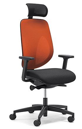 giroflex ジロフレックス 353 パソコンチェア ハイバック PCチェア ワークチェア 仕事用チェア デスクチェア 後傾姿勢 デスクワークにおすすめ 疲れにくい チェア 椅子 オフィス ヘッドレスト付き アジャスト肘付き 樹脂脚 オレンジ 橙 353-9029RS OR