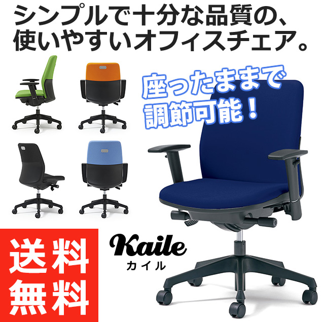 PLUS プラス カイルチェア Kaileチェア パソコンチェア PCチェア オフィスチェア デスクチェア 事務イス 事務椅子 学習チェア 勉強椅子 シンプル 椅子 イス チェア chair キャスター付き 疲れにくい ローバック アジャスト肘 青 ブルー KD-HL66SL BL