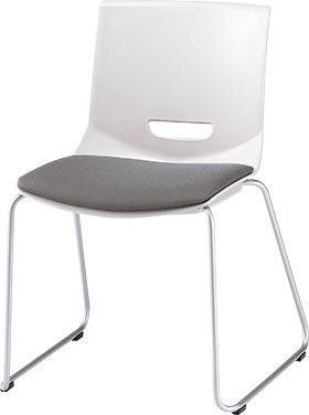 PLUS プラス チェアUB ミーティングチェア ミーティング室 会議室 会議イス 会議椅子 会議用椅子 スタッキングチェア スタッキング 椅子 イス いす チェア chair CHAIR 持ち運びしやすい 背スリット ループ脚 肘なし ミディアムグレー 灰色 MC-UB01