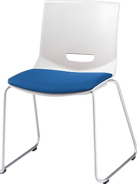 PLUS プラス チェアUB ミーティングチェア ミーティング室 会議室 会議イス 会議椅子 会議用椅子 スタッキングチェア スタッキング 椅子 イス いす チェア chair CHAIR 持ち運びしやすい 背スリット ループ脚 肘なし ライトブルー 青 水色 MC-UB01