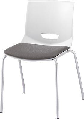 PLUS プラス チェアUB ミーティングチェア ミーティング室 会議室 会議イス 会議椅子 会議用椅子 スタッキングチェア スタッキング 椅子 イス いす チェア chair CHAIR 持ち運びしやすい 背スリット 4本脚 肘なし ミディアムグレー 灰色 MC-UB03SE