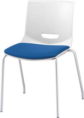 PLUS プラス チェアUB ミーティングチェア ミーティング室 会議室 会議イス 会議椅子 会議用椅子 スタッキングチェア スタッキング 椅子 イス いす チェア chair CHAIR 持ち運びしやすい 背スリット 4本脚 肘なし ライトブルー 水色 青 MC-UB03SE