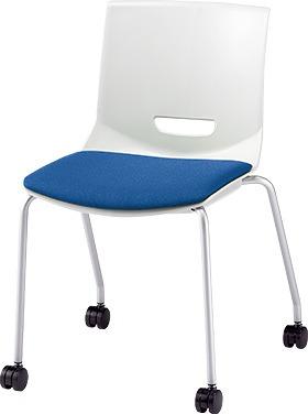 PLUS プラス チェアUB ミーティングチェア ミーティング室 会議室 会議イス 会議椅子 会議用椅子 スタッキングチェア スタッキング 椅子 イス いす チェア chair 持ち運びしやすい 背スリット 4本脚 肘なし キャスター付き ライトブルー MC-UB05SE