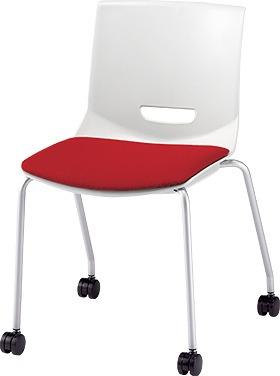 PLUS プラス チェアUB ミーティングチェア ミーティング室 会議室 会議イス 会議椅子 会議用椅子 スタッキングチェア スタッキング 椅子 イス いす チェア chair 持ち運びしやすい 背スリット 4本脚 肘なし キャスター付き レッド 赤 MC-UB05SE