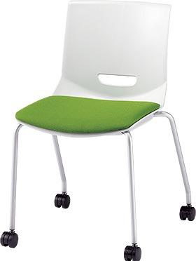 PLUS プラス チェアUB ミーティングチェア ミーティング室 会議室 会議イス 会議椅子 会議用椅子 スタッキングチェア スタッキング 椅子 イス いす チェア chair 持ち運びしやすい 背スリット 4本脚 肘なし キャスター付き イエローグリーン MC-UB05SE