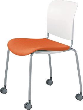PLUS プラス フィトナ ミーティングチェア ミーティング室 会議椅子 会議用椅子 スタッキングチェア 打ち合わせ 会議用チェア ミーティングルーム 持ち運び 会議室 談話室 椅子 イス チェア chair スタッキング キャスター付き 橙 オレンジ MB-F63SEH