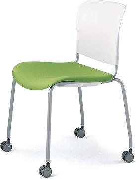 PLUS プラス フィトナ ミーティングチェア ミーティング室 会議椅子 会議用椅子 スタッキングチェア 打ち合わせ 会議用チェア ミーティングルーム 持ち運び 会議室 談話室 椅子 イス チェア スタッキング キャスター付き イエローグリーン MB-F63SEH