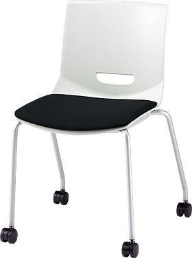 PLUS プラス チェアUB ミーティングチェア ミーティング室 会議室 会議イス 会議椅子 会議用椅子 スタッキングチェア スタッキング 椅子 イス いす チェア chair 持ち運びしやすい 背スリット 4本脚 肘なし キャスター付き ブラック 黒 MC-UB05SE