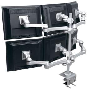 液晶モニターアーム モニターアーム モニタアーム 水平多関節 デュアルディスプレイ 液晶ディスプレイ アーム  デュアル デスク ゲーム トレーダー 株 クランプ固定 クランプ式 デスクに設置 設置 並べる ディスプレイアーム 銀 シルバー 2段3列 LA-518-5