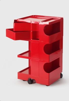 【2年保証正規品】ボビーワゴン BobyWagon ワゴン デザイナーズ キャビネット キャスター付き オフィス リビング 書斎 トレイ 収納 多機能 整理 整頓 大容量 ペン入れ ファイル すっきり プラスチック製 インテリア 3段 2トレイ レッド 赤 B32