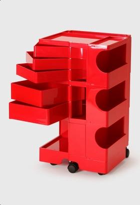 【2年保証正規品】ボビーワゴン BobyWagon ワゴン デザイナーズ キャビネット キャスター付き オフィス リビング 書斎 トレイ 収納 多機能 整理 整頓 大容量 ペン入れ ファイル すっきり プラスチック製 インテリア 3段 5トレイ レッド 赤 B35