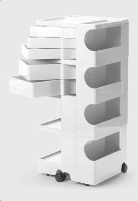 【2年保証正規品】ボビーワゴン BobyWagon ワゴン デザイナーズ キャビネット キャスター付き オフィス リビング 書斎 トレイ 収納 多機能 整理 整頓 大容量 ペン入れ ファイル すっきり プラスチック製 インテリア 4段 5トレイ ホワイト 白 B45