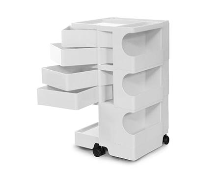 【2年保証正規品】ボビーワゴン BobyWagon ワゴン デザイナーズ キャビネット キャスター付き オフィス リビング 書斎 トレイ 収納 多機能 整理 整頓 大容量 ペン入れ ファイル すっきり プラスチック製 インテリア 3段 4トレイ ホワイト 白 B34
