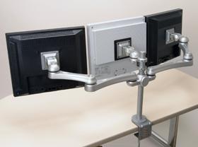 液晶モニターアーム モニターアーム モニタアーム 水平多関節 デュアルディスプレイ 液晶ディスプレイ アーム デュアル デスク ゲーム トレーダー 株 クランプ固定 クランプ式 デスクに設置 設置 並べる ディスプレイアーム 銀 シルバー 1段3列