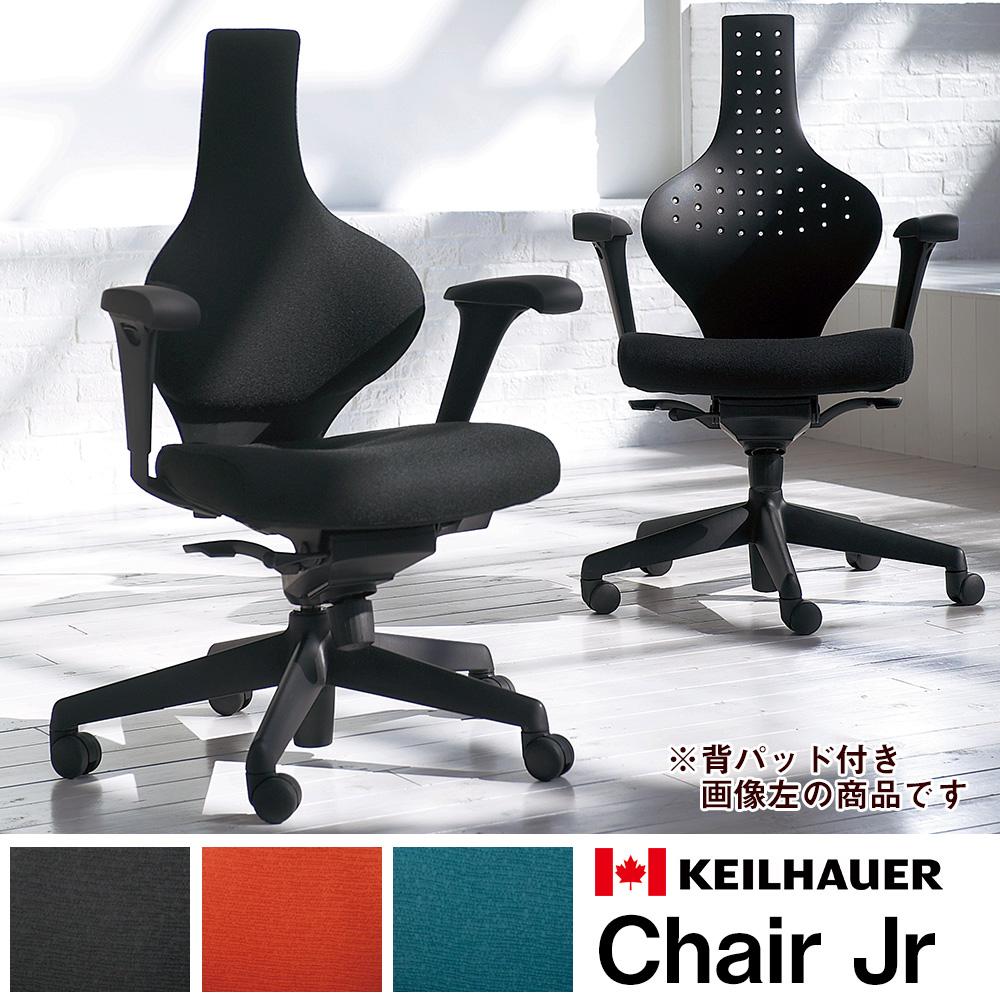 Jrチェア 背パット付き ブラック(オフィスチェア パソコンチェア パソコンチェアー デスクチェア ワークチェア ワークチェアー 事務チェア 事務椅子 ユニークチェア ユニーク 人間工学 デスクワーク 机作業 チェア チェアー イス 椅子 いす)JB-K04SLN
