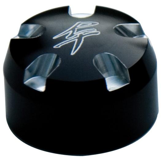 ローリングトイズ(Roaring Toyz)コントラストカット30MMフォークキャップFork Cap Set 30MM Black Anodized with RT Logo