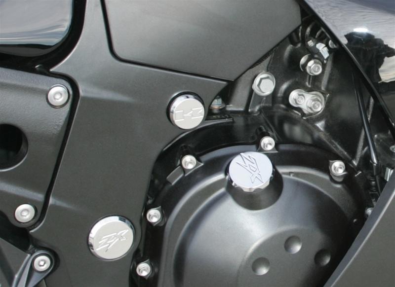 ローリングトイズ(Roaring Toyz)ZX-14(ZZR1400) エンジンマウントボルト、ホールカバー,クロームZX14 Chrome Plated Billet Motor Mount Bolt Cover Kit