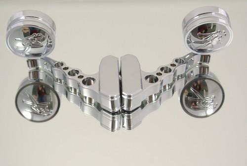 ランソムマシンワークス(Ransom Machine Works)GSX-1300R 隼ロゴ、イングレイブミラー,クローム・Hayabusa Rogo Mirrors