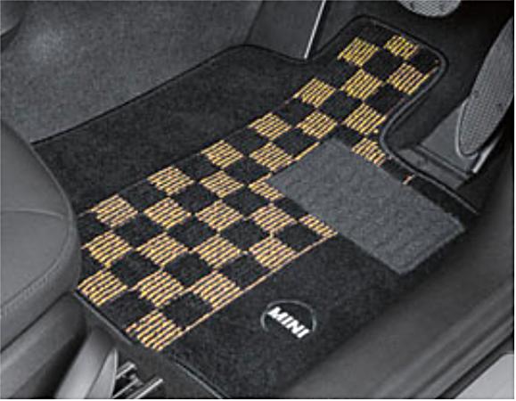 """BMW MINI ミニ 純正 アクセサリー F55 (5 DOOR) フロアマットセット """"シャギー・チェック"""" (ブラック/イエロー) 4枚セット 【51472406247】 パーツ"""