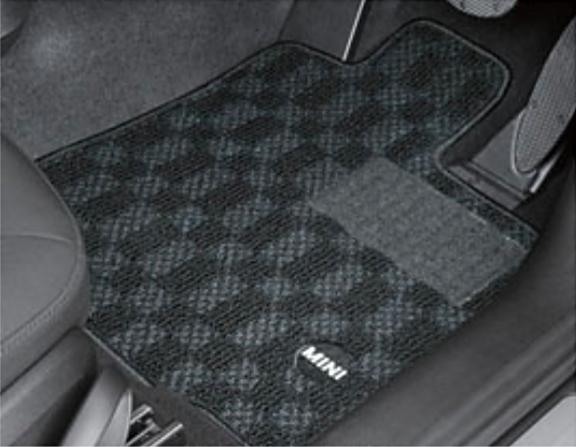 """BMW MINI ミニ 純正 アクセサリー F55 (5 DOOR) フロアマットセット """"サキソニー・スポーツ"""" (ブラック) 4枚セット 【51472406270】 パーツ"""